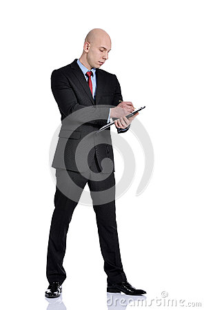 Free Man Holding A File Stock Photo - 37913330