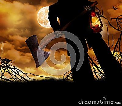 Man holding ax and lantern