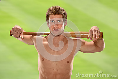 Man Holding Baseball Bat on Shoulders