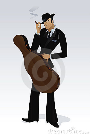 Free Man Holding Bass Case Vector Stock Images - 18729124