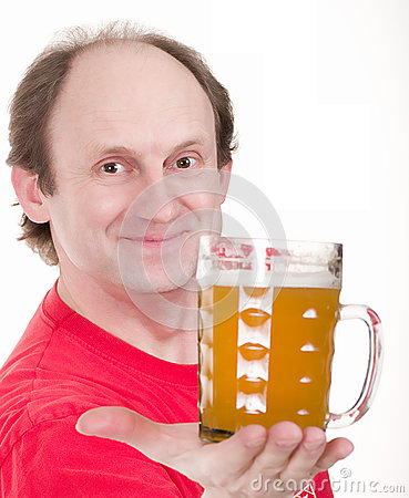man holding a beer belly