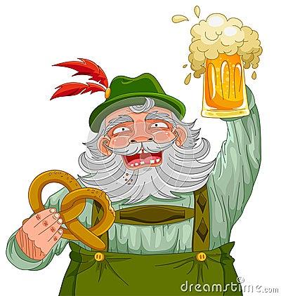 Man holding beer and pretzel