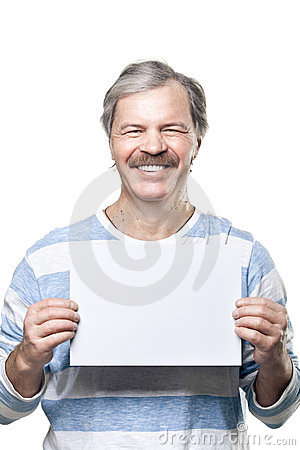 Man holding a blank billboard isolated on white
