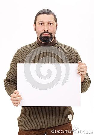 Man holding a blank board