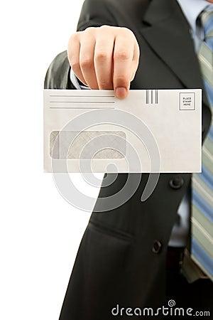Man holding Blank envelop