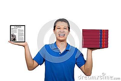 Man holding books and E-books