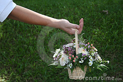 Man holding bouquet