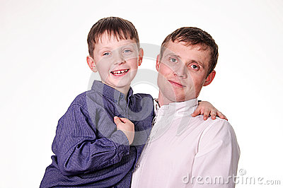 Man holding a son