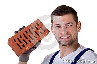 Man holding brick