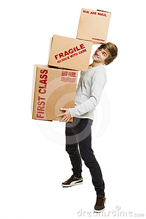 Man holding card boxes