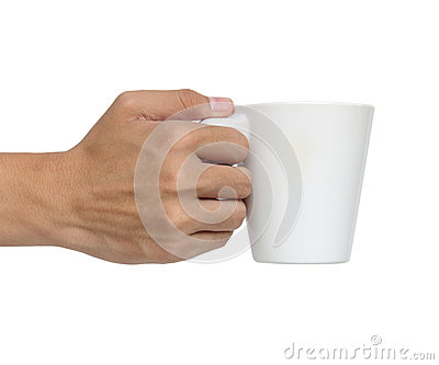Man holding a ceramic cup isolated over white