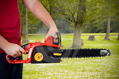 Man Holding Chainsaw