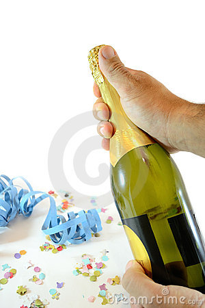 Free Man Holding Champagne Bottle Stock Photography - 21364122