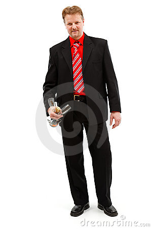 Man holding champagne and glasses