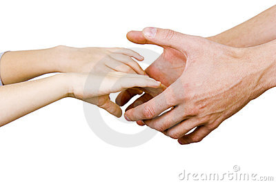 Man holding a child by the hand