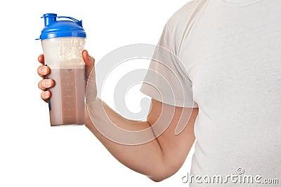 Man holding chocolate whey protein shake