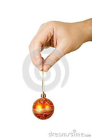 Man holding a christmas ball