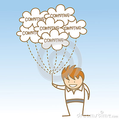 Man holding cloud computing