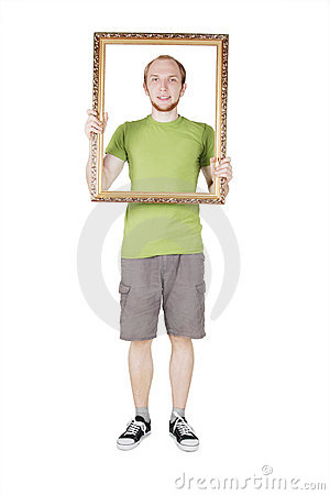 Free Man Holding Decorative Picture Frame Stock Images - 20291474