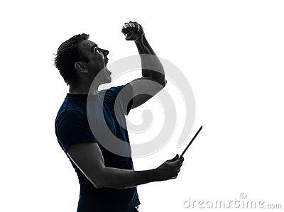 Man holding digital tablet  happy joy silhouette
