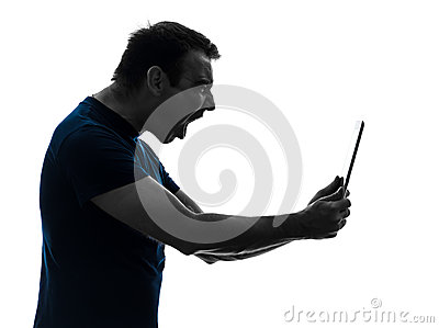 Man holding digital tablet  screaming angry furious