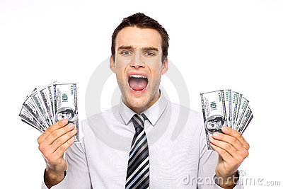 Man holding dollar bills and screaming