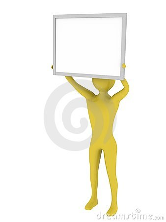 Man holding empty presentation board