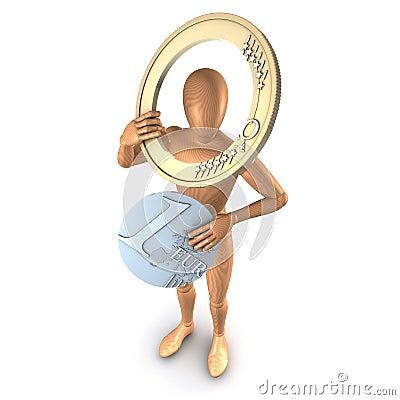 Man holding euro parts