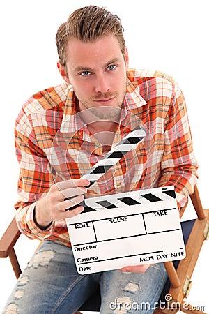 Man holding a film slate