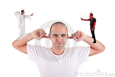 Man holding fingers in his ears, not listening