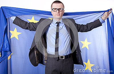 Man holding flag of European Union