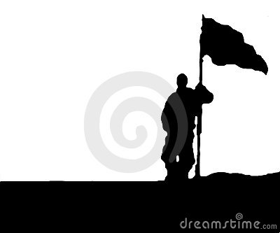 Man holding Flag - Isolated
