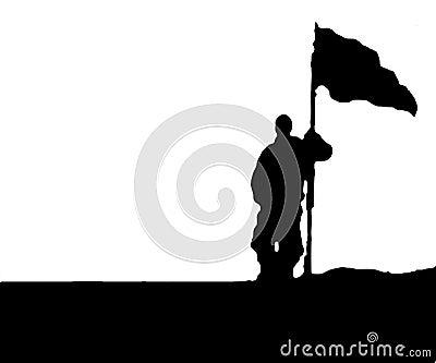человек с флагом