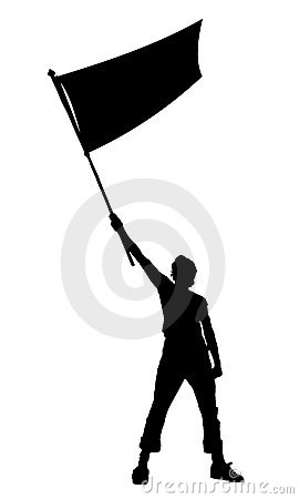 Man holding a flag, vector silhouette