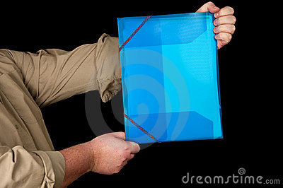 Man is holding folder for documents