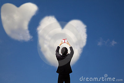 Man holding gift and cloud  love
