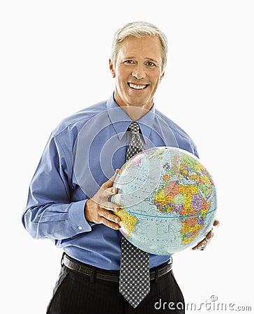 Man holding globe.