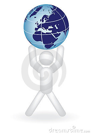 Man holding globe on arms