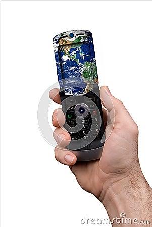 Man holding globe cell phone