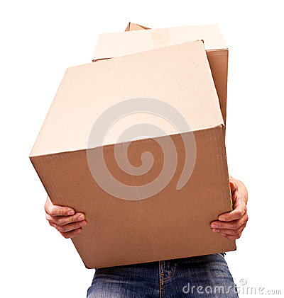 Man holding heavy card boxes