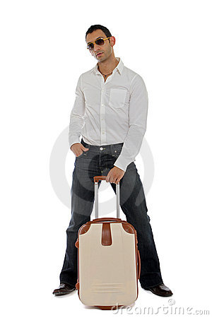 Man holding his carry-on