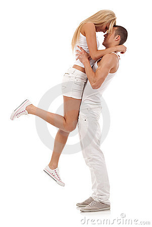 Man holding his girlfriend in the air