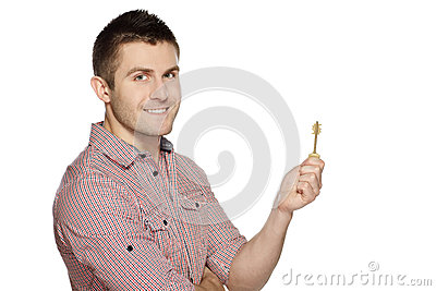 Man holding house key