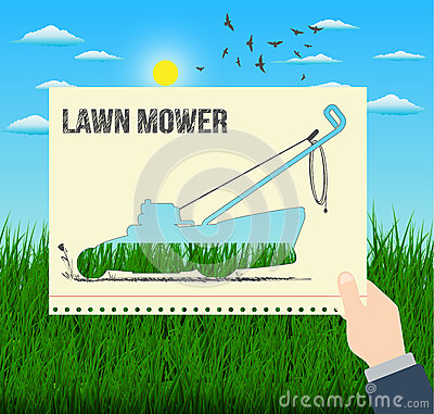 Man is holding an illustration of a lawn mower with a grass background Vector Illustration