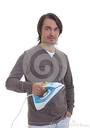 Man holding an iron, isolated on white