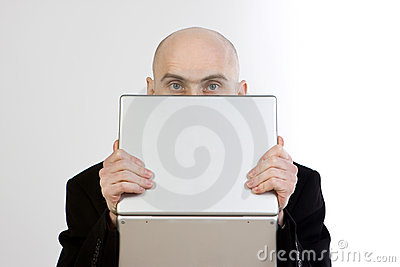 Man Holding Laptop