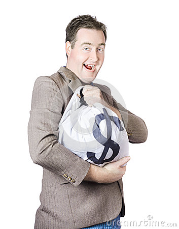 Man holding large sum of money in bank deposit bag