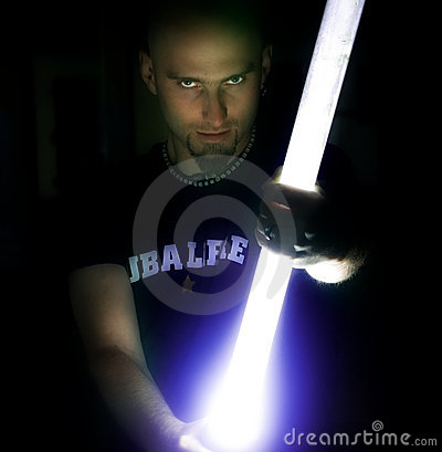 Man Holding a Light Stick