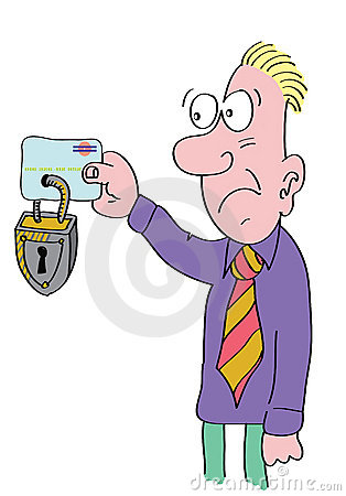 Free Man Holding Locked Credit Card Royalty Free Stock Photography - 8102357