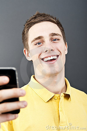 Man holding mobile phone